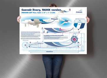 Convair CV580 aircraft livery specifications plan.