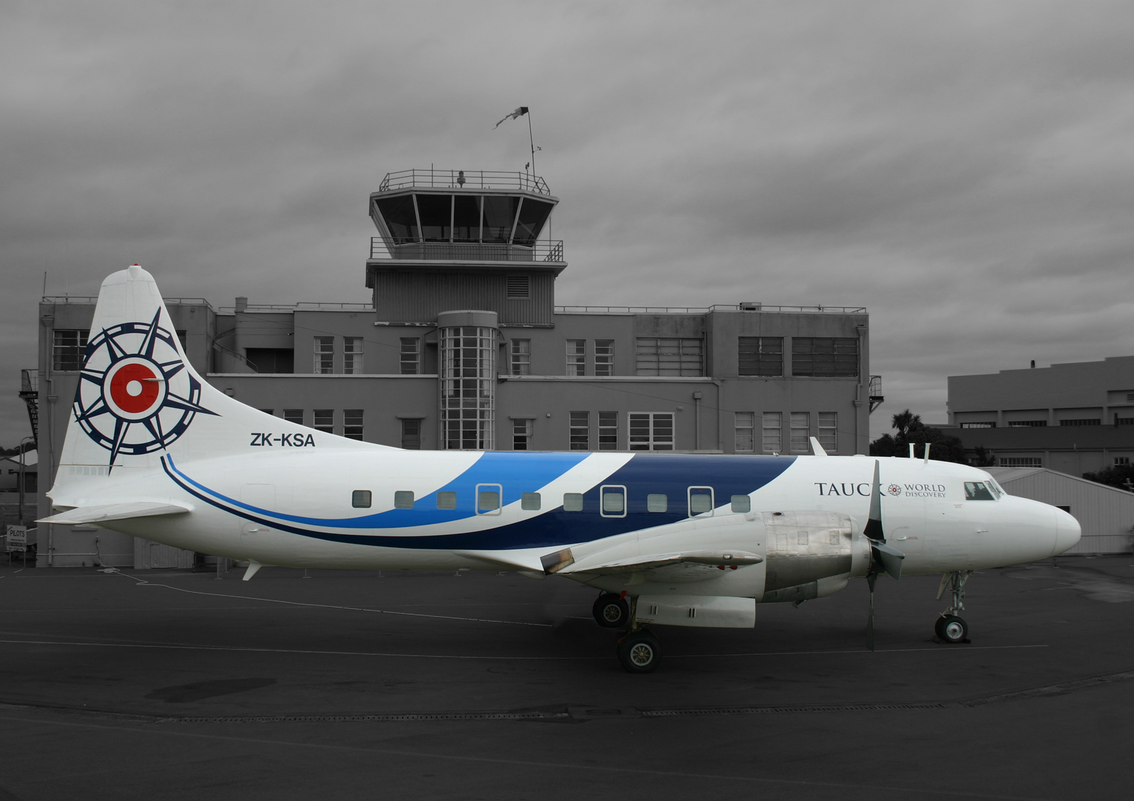 Side elevation, Convair CV580 ZK-KSA, inaugural flight, Palmerston North to Wigram Airfield Christchurch, newly refurbished and sporting the new specialised Pionair aircraft 'fluid' livery'.