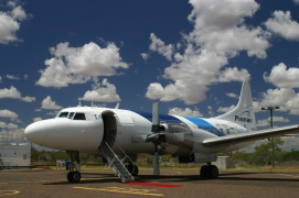 Pionair Australia Convair CV580 VH-PDV with it's fresh new fluid livery