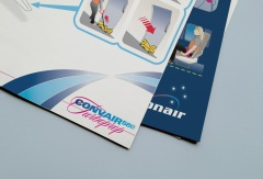 Convair CV580 Cabin Safety Instructions Card, inside spread, and cover close-up displaying Pionair and Convair aircraft branding on both sides of the Safety on board card.