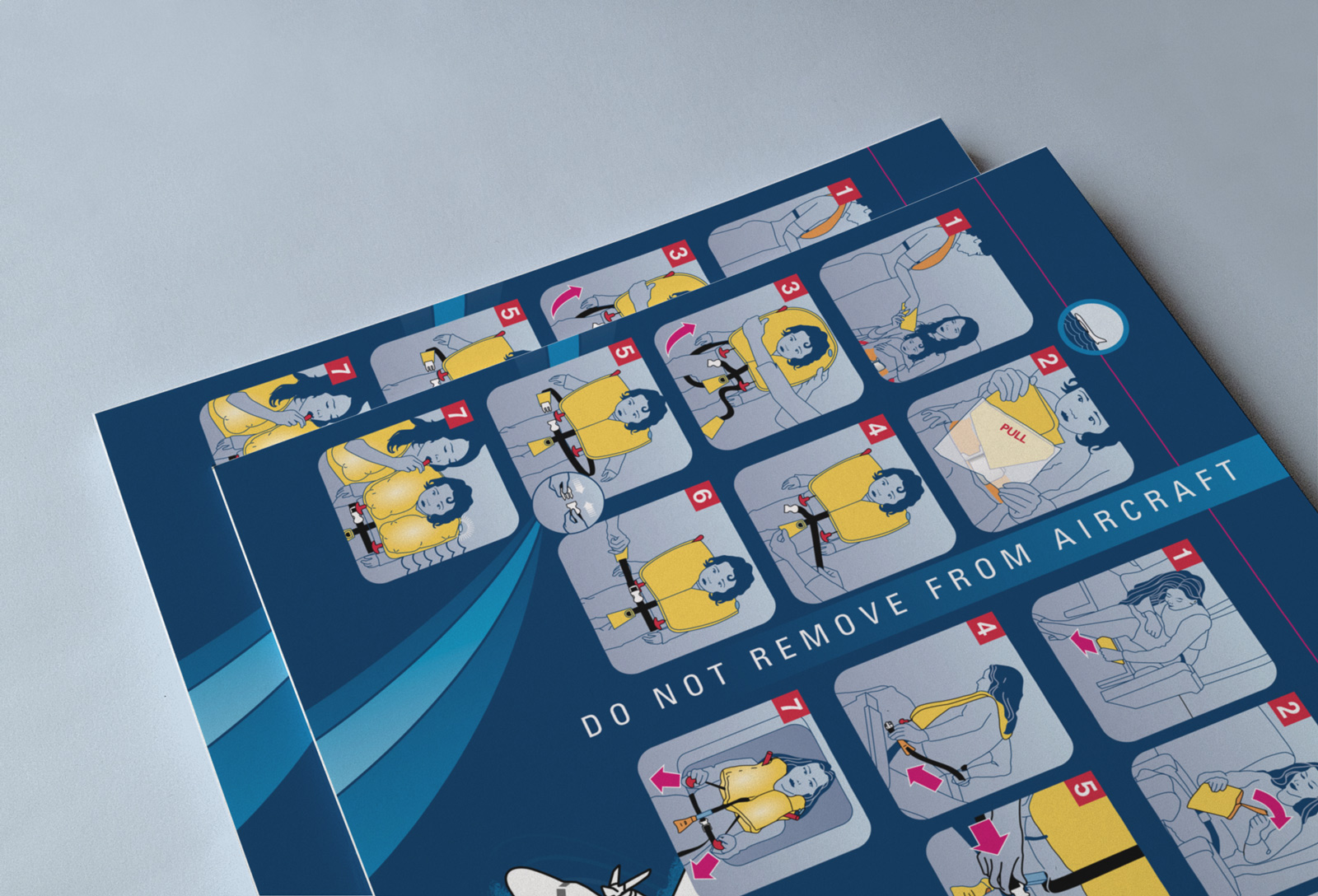Convair CV580 Cabin Safety Instructions Card, back-over, close-up. Donning the lifejacket.