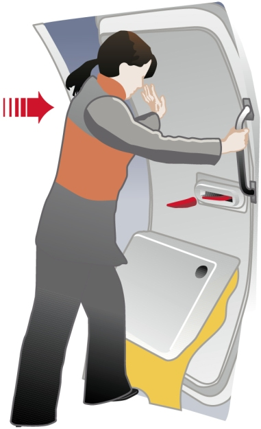 Convair CV580 Cabin Safety Instructions Card, vector infographic, arming the escape chute, opening the door.
