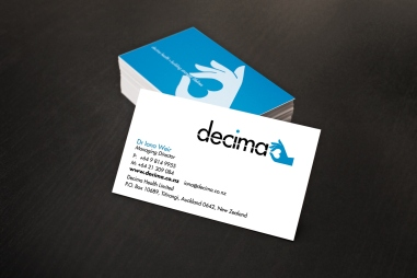 Decima Health logo and business card front and back