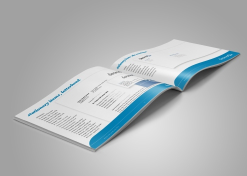 "Inside spread from the Decima corporate style guide, page headings read ""stationery items, business cards"", ""stationery items letterhead"". Brand use document, Graphic Standards guide."