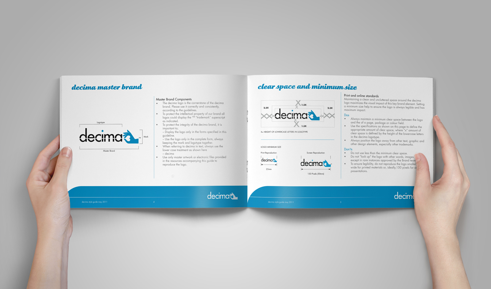 """Inside spread from the Decima corporate style guide, page headings read """"decima style guide"""", """"the logo"""". Brand use document, Graphic Standards guide."""