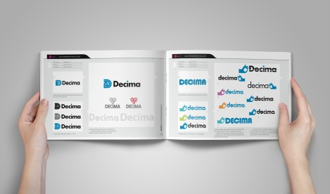 Inside spread from the Decima brand design presentation document.