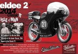 Eldee Velocette classic racing motorcycle Isle of Man Classic TT 2014 ClassicRacer Magazine, half page horizontal colour advertisement.