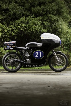 Eldee T.T., lightweight, Velocette special, side elevation, starboard side, aerodynamic tail, sponsor's logos array, carbon-fibre racing, seat, petrol tank, fairing, publicity photo, Nick Thomson, photographer, Shaun Waugh, MagentaDot Brands