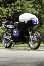 Eldee Velocette, front three-quarter, portrait, carbon fibre seat, petrol tank and fairing, rider, Bill Swallow, flying swallow mark, publicity photo, photographer, Shaun Waugh, MagentaDot Brands, ram air fairing