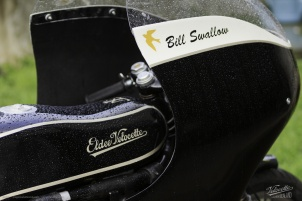 Eldee Velocette logo detail on carbon fibre tank