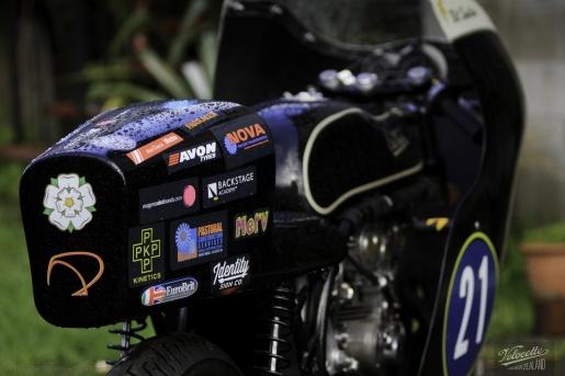Nick Thomson, Eldee T.T., lightweight, Velocette special, rear elevation, detail, aerodynamic tail, sponsor's logos array, publicity photo, photographer, Shaun Waugh, MagentaDot Brands
