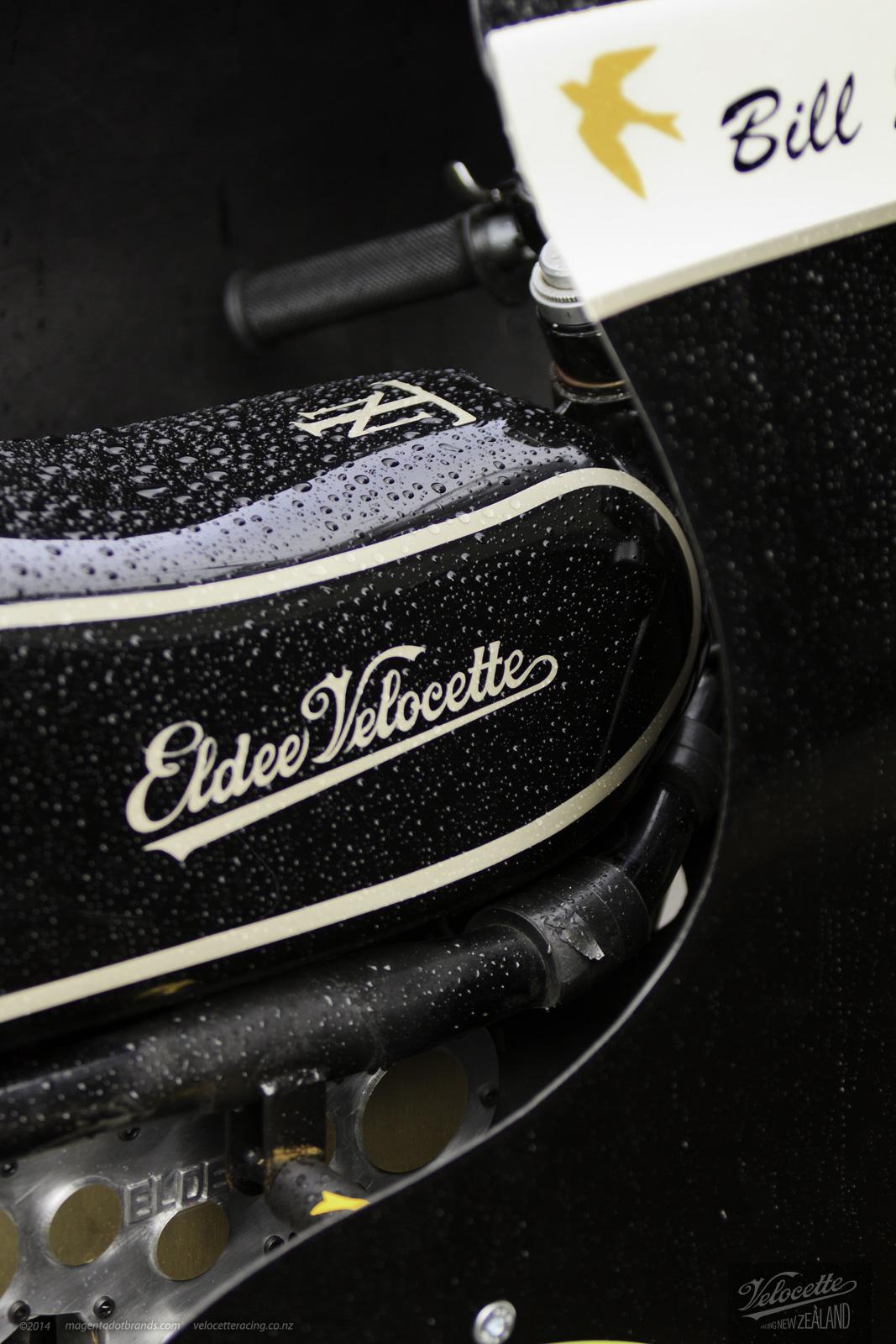 Eldee Velocette logo detail on carbon fibre tank