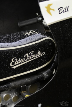 Eldee Velocette classic racing motorcycle logo side elevation, starboard side detail view of petrol tank sporting the new Eldee Velocette badge
