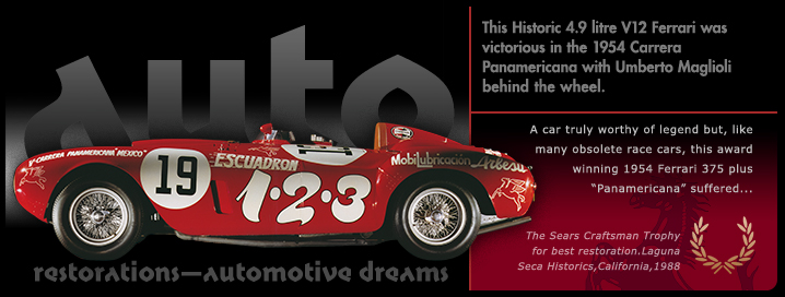Graphic Ferrari Panamericana slide from the 'Auto Restorations—automotive dreams' 'PassionPoint' slideshow / marketing communications banner at the head of the homepage. The positioning of the Auto Restorations brand as representing a firm of internationally recognised, highly skilled and experienced classic car restorers who are also passionate classic car enthusiasts is expressed in these mini-advertisement slides.