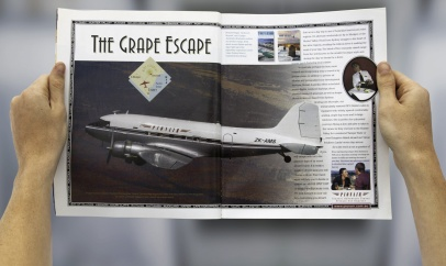 Pionair Sydney, 'The Grape Escape' Classic DC3 weekend wine region getaways, 'Weekends For 2' magazine. Pionair 'Golden Era of Air Travel' campaign theme.