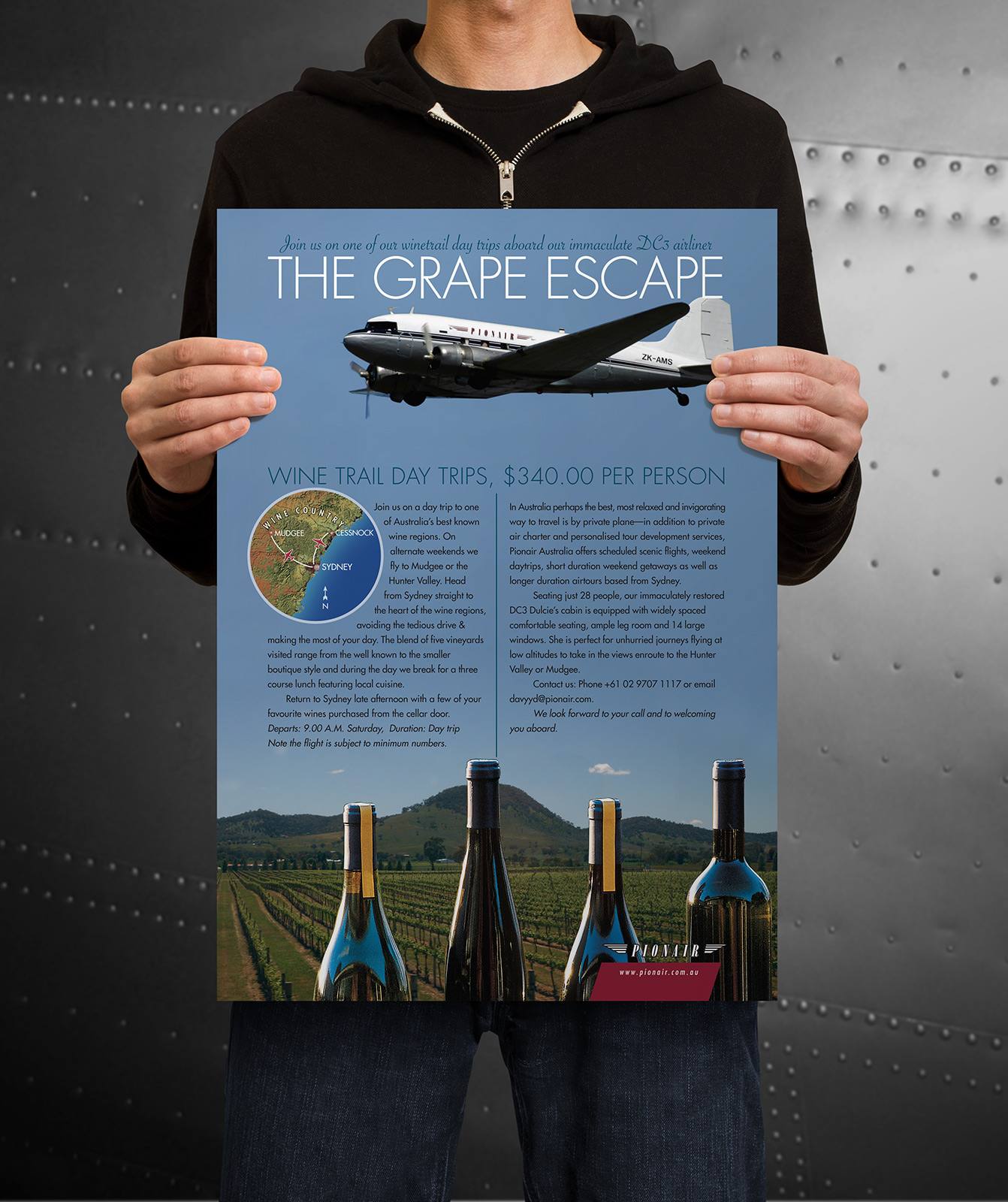 Pionair Sydney, 'The Grape Escape' Classic DC3 weekend Wine trail day trips. 'Join us on one of our winetrail day trips aboard our immaculate DC3 airliner'. Full page colour ad, and display poster, 'Golden Era of Air Travel' campaign theme.