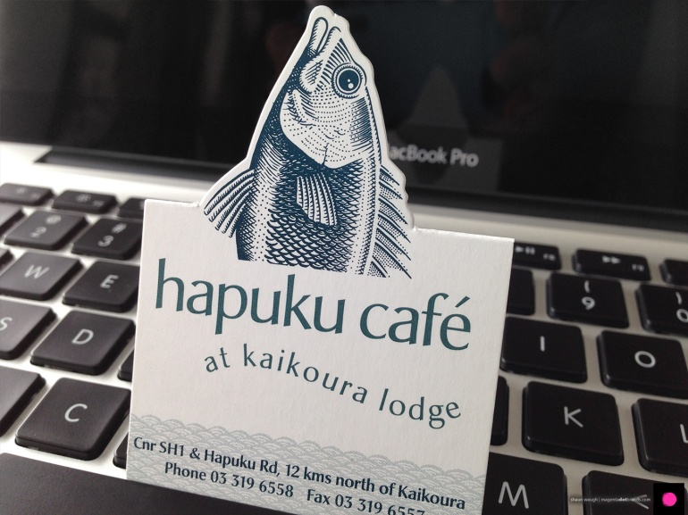 Novel Hapuku Cafe and Lodge business card, popped up.