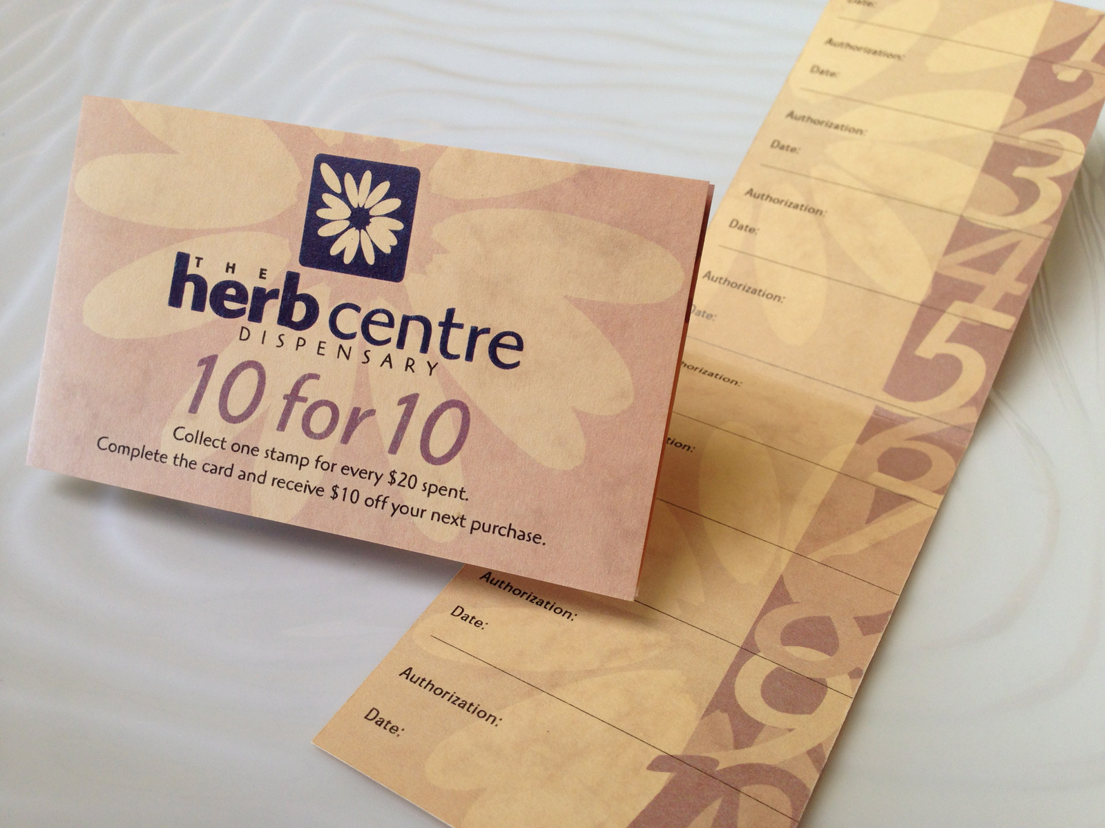 Herb Centre logo and 10-for-10 loyalty card