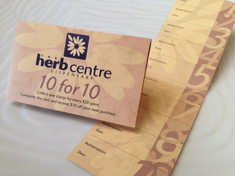 Herb Centre Clinic / Dispensary / Café stationery system, two-sided '10 for 10' discount card, digitally printed in colour on honey coloured marble card,Healthcare, Brand and identity systems design, print production