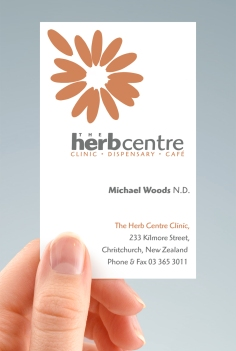 Herb Centre business card hand-held