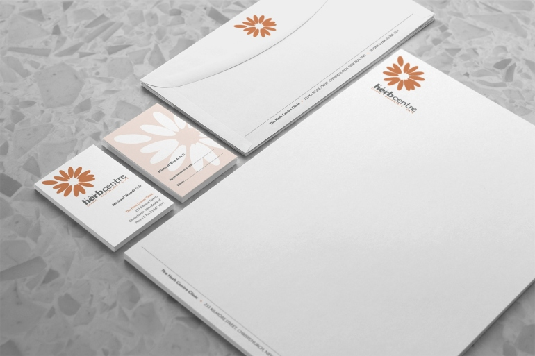 Herb Centre Clinic / Dispensary / Café stationery system, two colour, orange and grey, type and symbol logo, two-sided business card design, letterhead and DLE envelope. Healthcare, Brand and identity systems design, Illustration, print production