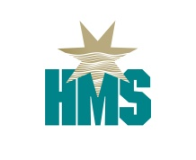 Australian maritime services firm 'HMS' logo. The seven pointed star from the Australian flag overlaps the capital letter M in HMS. The top of the star is solid gold, the lower half filled with stylized linear wave forms creating a horizon mid-way. The Company name is a clever wordplay on client's initials; HMS—Harrison Maritime Services. Brands for Australian companies.
