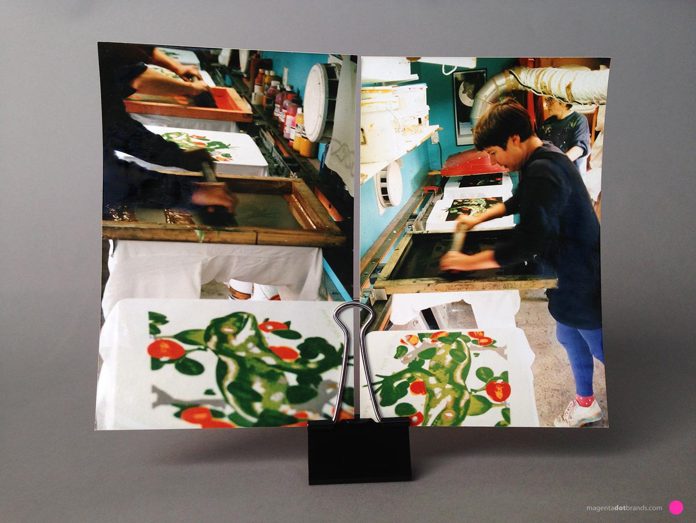 Jewelled Gecko 8 colour print - Chrissie hand screenprinting the 8th colour