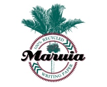 """Maruia"" brand, ""100% recycled writing paper"" trademark. The bold black ""Maruia"" name is in flowing script over a roundel ring enclosing the ""100% recycled writing paper"" product description. Entwined with the roundel and type is a graphical line drawing of a flowering Nikau palm. Printed in two colours, red and green, overprinting produces a near black ""Maruia"" product name. Being higher contrast the Maruia name stands forward of the green Nikau and red roundel elements.Brands for New Zealand companies."