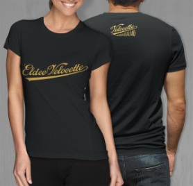 Combined front view of 'Eldee Velocette' logo design on black women's tshirt, with rear view of the small VRNZ logo print on back of men's shirt, men's and women's garments are printed front and back.