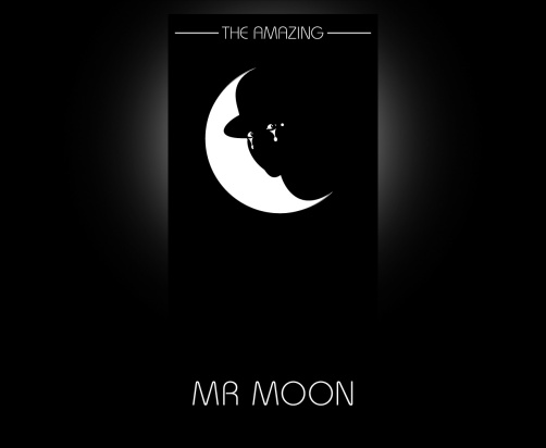 The Amazing Mr Moon symbol and type logo. A visual double entendre, a white half moon is the moon disc bisected by the silhouette of the costumed performer, Mr. Moon, his head in semi profile, the eyes of the performer are illustrated so that they gaze back at the viewer. Brands for New Zealand / International companies.