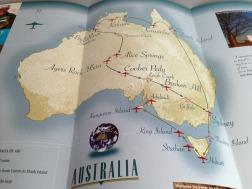 Pionair / Harvard Alumni Association 'Discover Australia by air' brochure, tour itinerary map.