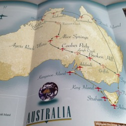 Pionair / Harvard Alumni Association 'Discover Australia by air' brochure, tour itinerary map.