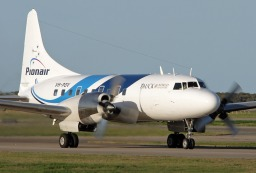 Pionair Convair CV580 aircraft new logo and livery front view