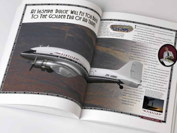 """Pionair, """"At 165mph 'Dulcie' will fly you back to the Golden Era of Air Travel"""" Golden Era of Air Travel / Circumnavigation of Australia by Classic DC3 Airtour double page magazine advertisement. The first ad in a 3 ad campaign."""