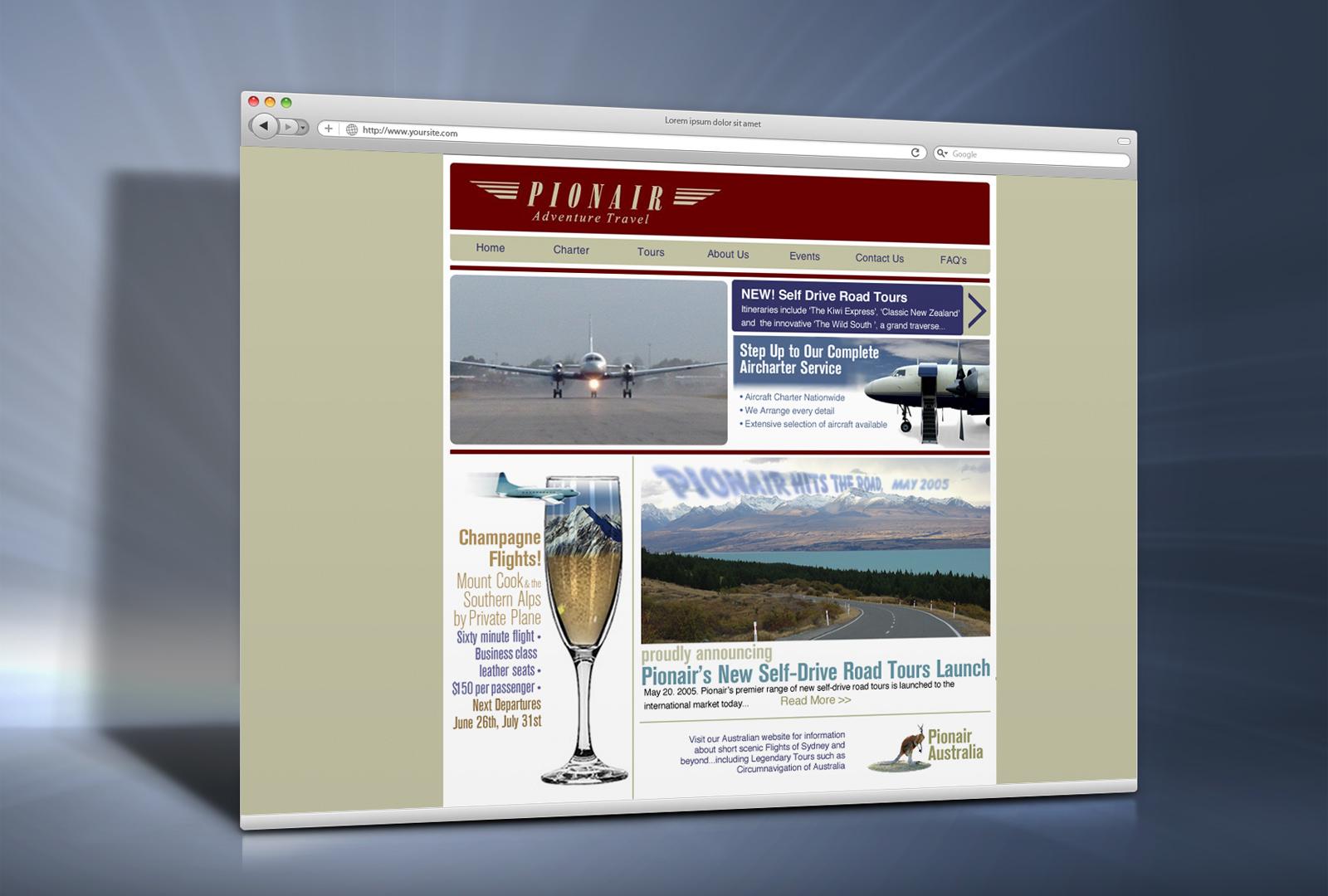 Pionair content managed website, 2004 skin, pre-rebrand.