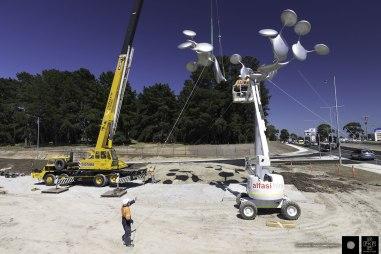 Phil Price installing the Tree of Life, Karingal, Melbourne, Australia.