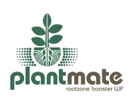Plantmate: Root zone booster WP, type and symbol logo with tag-line lock-up. Iconic plant line drawing including root network, below the ground the stylized rootball is protected by a stylized shielding, Brands for New Zealand / International companies.