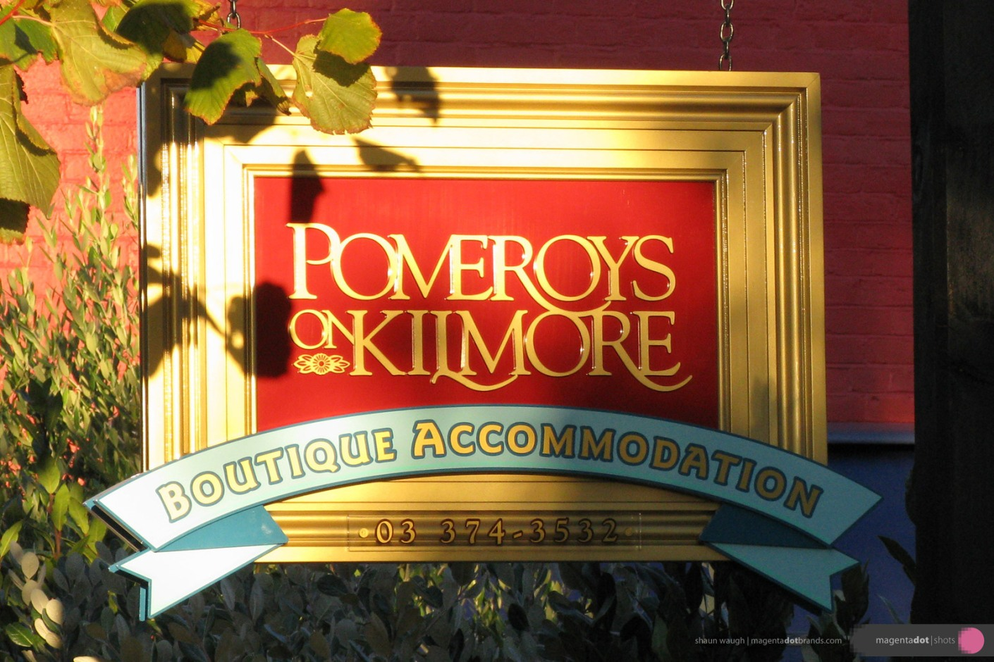 Pomeroys Boutique Accommodation logo and hand-crafted three dimensional sign.