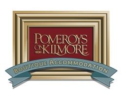 Pomeroys on Kilmore - Boutique Accommodation, logo and street signage. Brands for New Zealand businesses, Christchurch.