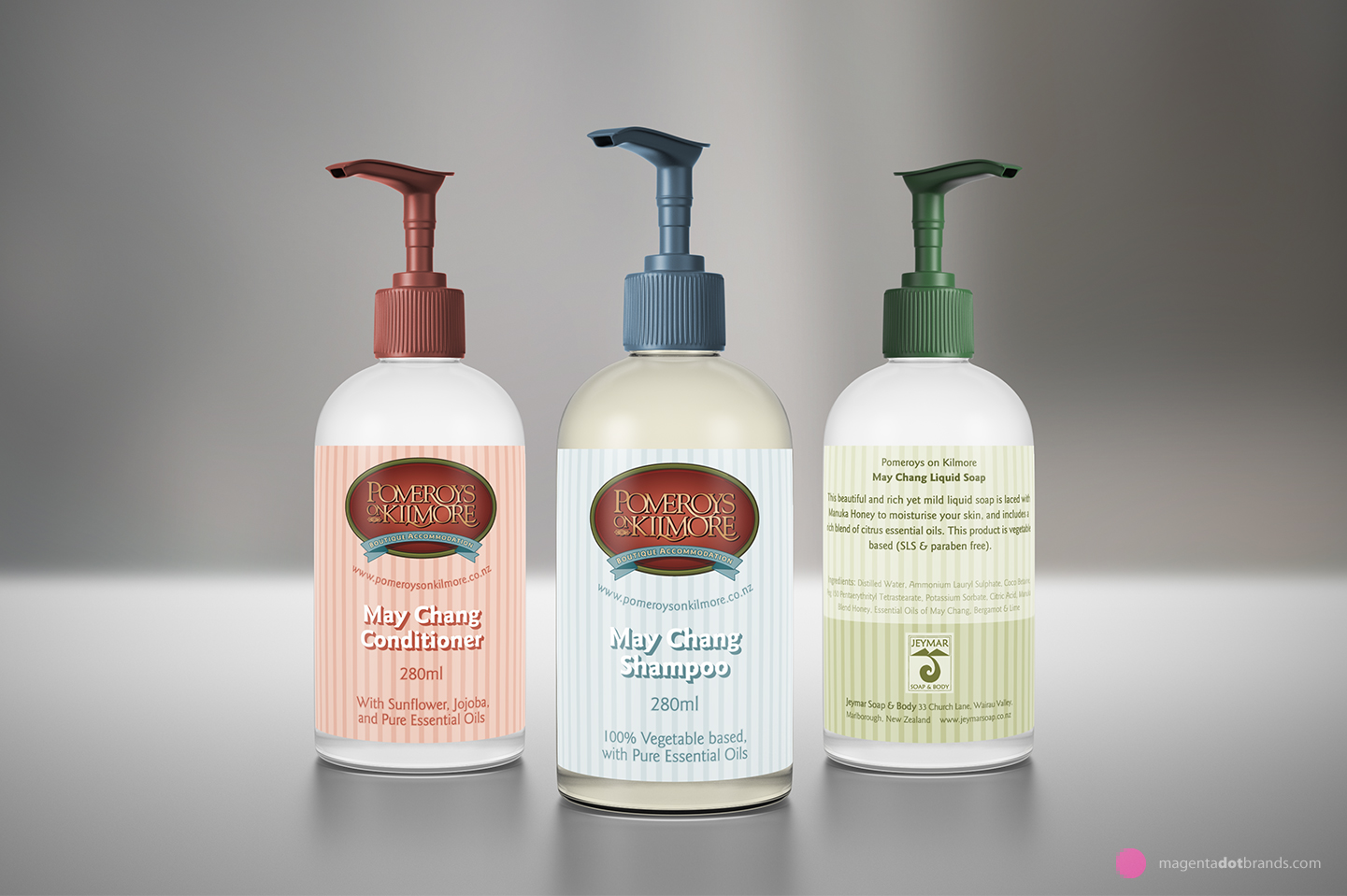 Pomeroy's on Kilmore Boutique Accomodation custom bathroom product range packaging.
