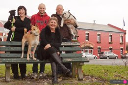 Pomeroys family portraits with their dogs across the road from pub. Clockwise L to R, Ava, Keeley, Steve and Victoria.