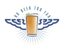 Wild Blue - Pomeroys Pub 'No Beer Too Far' logo for their L.R.D.G (Long Range Drinking Group)
