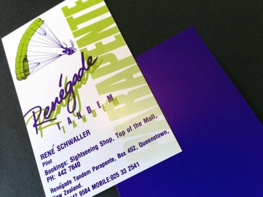 Renegade Tandem Parapente logo and business card