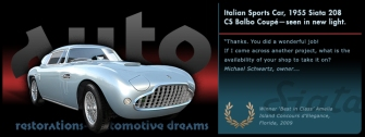 Automotive Dreams graphic, Italian Sports Car, 1955 Siata Balbo Coupe slide from the 'Auto Restorations—automotive dreams' slideshow