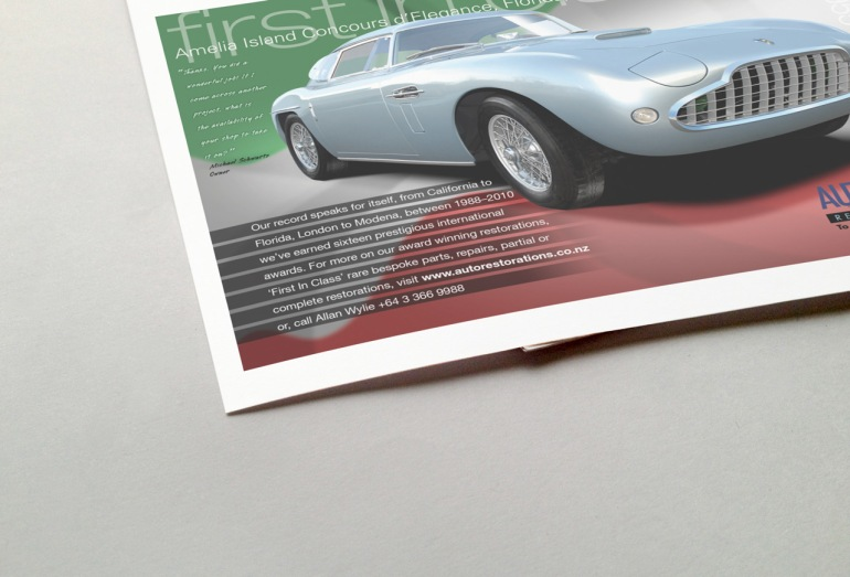 "Half page magazine advert, ""First in Class"", featuring 1955 SIATA 208 CS Balbo Coupé which won First in Class in the Sports and GT Cars (Post-War to 1953) class at Amelia Island Concours d'Elegance, Florida, USA, 2009."