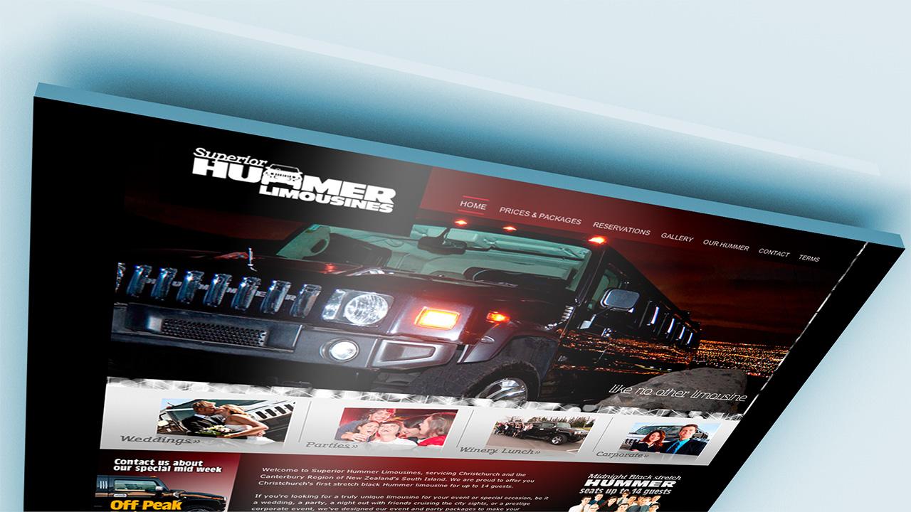 Superior Hummer Limousines Homepage mockup.