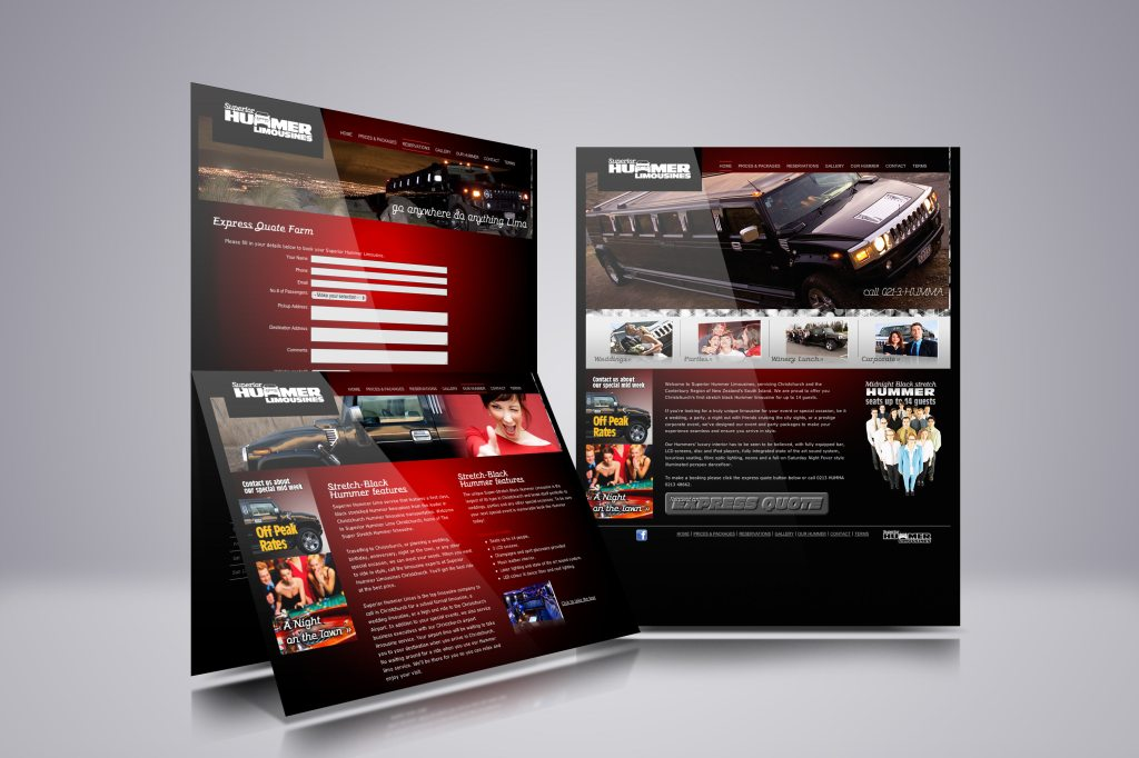 Superior Hummer Limousines web design showcase, three pages from the site displayed in an overlapping composition.