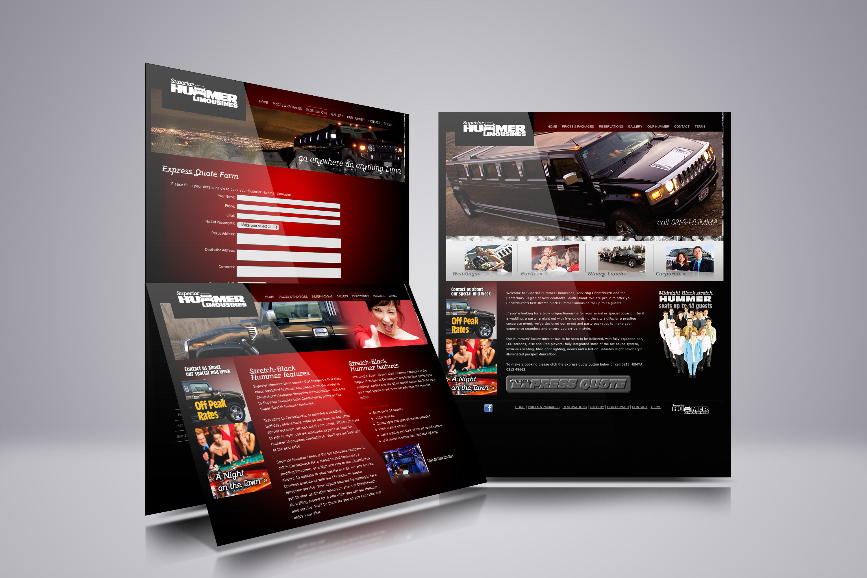 Superior Hummer Limousines web design showcase