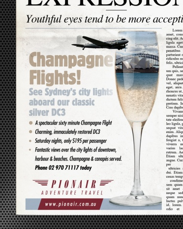 Champagne Flights! See Sydney's city lights aboard our classic silver DC3. Classic DC3 Airliner 'Golden Era of Air Travel' campaign theme. Pionair Australia, Sydney. Full colour newspaper small advertisment.