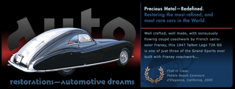 Automotive Dreams graphic, French 1947 Talbot Lago T26 GS slide from the 'Auto Restorations—automotive dreams' slideshow.
